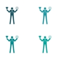 Set of stylish sticker on paper man holding vector image vector image