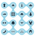 set simple garments icons vector image