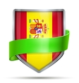 Shield with flag Spain and ribbon vector image vector image