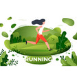 sporty girl running in park vector image vector image