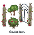 stone gate overgrown with roses garden decor vector image vector image
