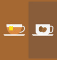 tea with tag label and coffee vector image vector image