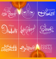 typography calligraphy on diwali holiday vector image vector image