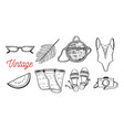 vintage fashion with summer clothes vector image