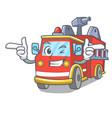 wink fire truck character cartoon vector image