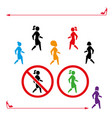 woman icon walk and don t walk set people back vector image vector image