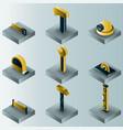 work shop gradient isometric icons vector image