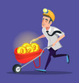bitcoin miner with pushcart full of golden coins vector image