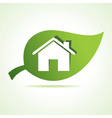 Home icon at leaf vector image