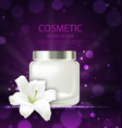 poster of refreshing cosmetic product with flower vector image