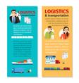 logistics and transportation vertical flyers vector image