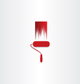 red paint roller abstract icon vector image