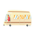 vintage cartoon travel minibus camper van vector image