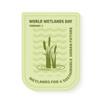 world wetlands day wave and reed vector image