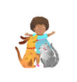 african american child girl with cat and dog vector image