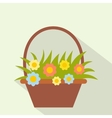 basket with flowers flat icon vector image
