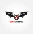bat sky drone logo design symbol vector image vector image