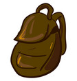big brown backpack on white background vector image