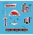 big city design element icons set on blue vector image vector image