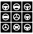 black steering wheels icon set vector image