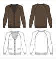Blank long sleeve brown raglan cardigan vector image