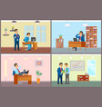 boss and employees working in office business set vector image