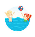 boy and girl playing ball in the water vector image