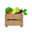 brown wooden box full of fresh vegetables natural vector image
