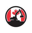 canadian excavator canada flag icon vector image