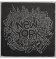 Cartoon cute doodles hand drawn New York vector image vector image