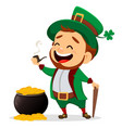 cartoon funny leprechaun with smoking pipe and vector image vector image