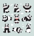 cartoon panda cute panda bear happy baanimals vector image