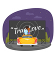 cartoon style of loving couple sitting on the vector image vector image