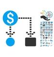 Cashflow Scheme Icon With 2017 Year Bonus Symbols