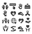 charity donation and help symbol icon set vector image vector image