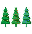 christmas trees with garlands xmas spruce set vector image vector image
