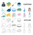 cleaning and maid cartoon icons in set collection vector image