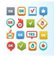colorful website ok buttons design vector image vector image