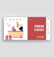 culinary class workshop website landing page man vector image