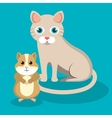 cute cat with hamster mascot icon vector image vector image