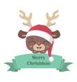 cute reindeer in santa hat with banner vector image vector image