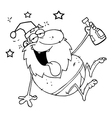 Drunk santa cartoon vector image