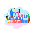 family day celebration flat word concept banner vector image