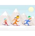 Family on ski vector image