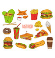 fast food dishes collection vector image vector image