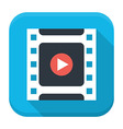 Filmstrip play flat app icon with long shadow vector image vector image