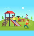 funny playing kids on playground vector image vector image