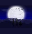 halloween zombies against moonlit sky vector image vector image