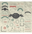 Hand Drawn Design Elements and Ribbons Set vector image