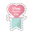 happy valentines day card heart hanging ribbon cut vector image vector image